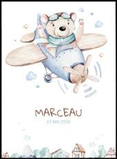 Affiche avion à hélices avec ours. Aquarelle personnalisable