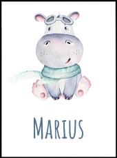 Affiche bébé hippopotame en aquarelle avec le prénom Marius personnalisable. Idéal pour chambre enfant.