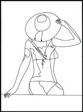 Affiche line art femme au chapeau