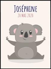 Affiche chambre enfant. Koala personnalisable avec le prénom joséphine.