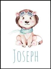 Affiche lionceau Joseph personnalisable  pour chambre d'enfant.