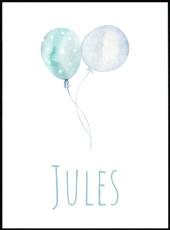 Affiche prenom Jules ballons bleus aquarelle personnalisable.