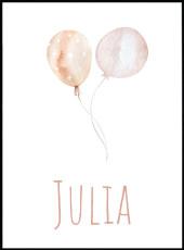 Affiche ballons roses en aquarelle personnalisable avec le prénom Julia.