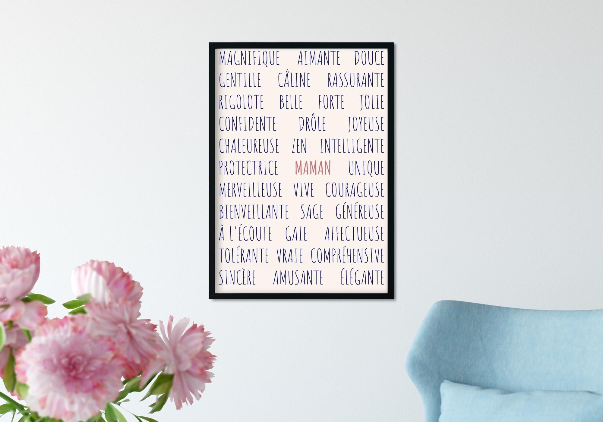Poster fête des meres avec les adjectifs d'une maman.