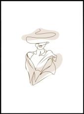 Affiche femme au chapeau a larges bords et decollete plongeant