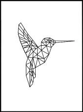 affiche colibri en origami