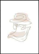 Affiche line art d'une femme de profil portant un chapeau.