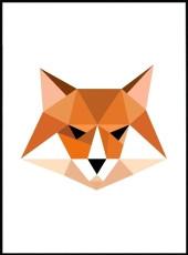 Affiche renard en origami en couleur