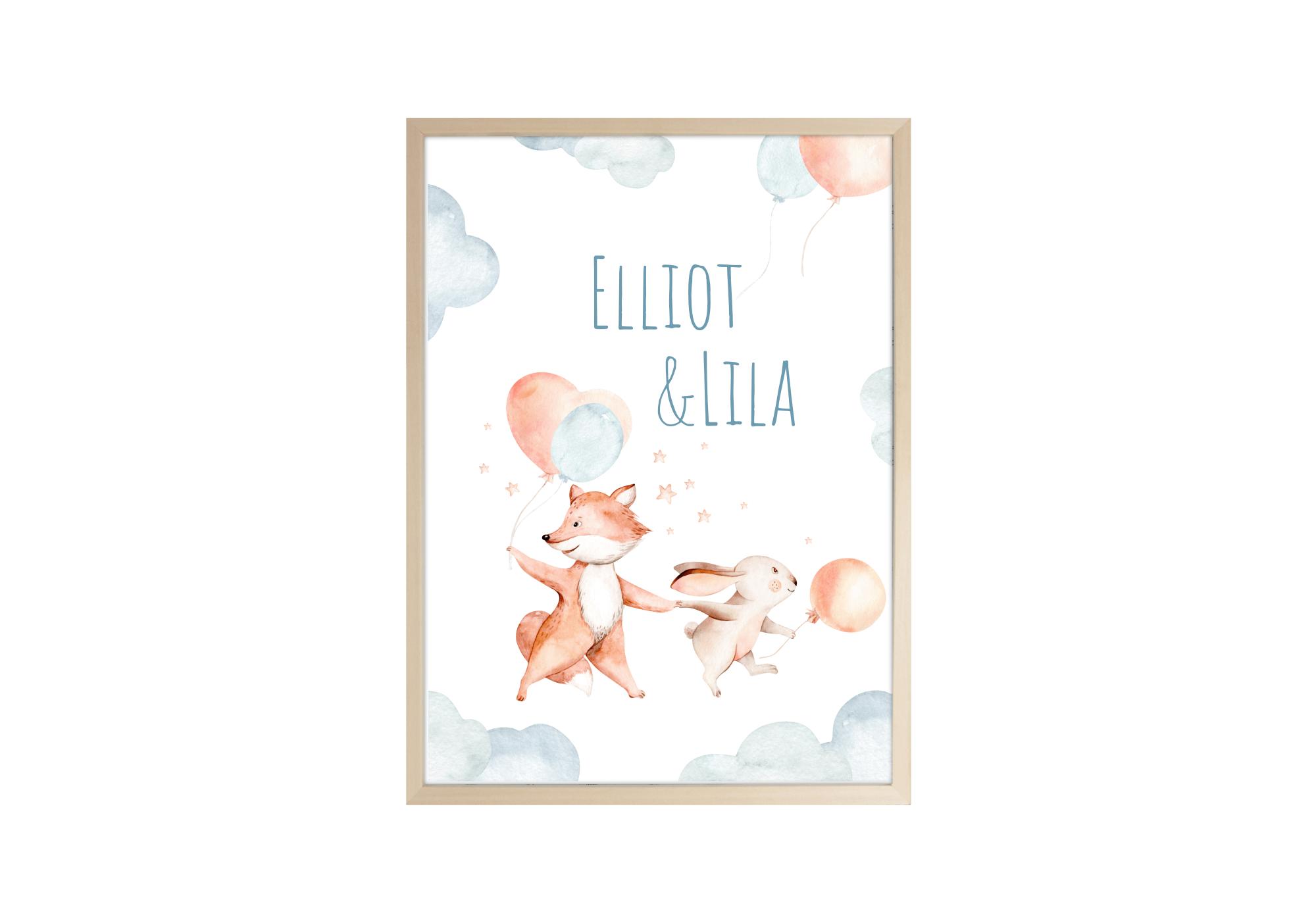 Superbe affiche d'un lapin et d'un renard entouré d'étoiles et tenant des ballons à la patte.