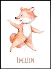 Affiche renard debout de style aquarelle à associer à nos affiches animaux.