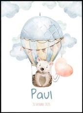 Superbe affiche d'un ours brun en montgolfière. Ce poster est réalisé en effet aquarelle et est personnalisable avec le prénom de votre enfant.