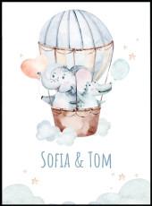 Poster d'un éléphant et d'un crocodile en montgolfière bleue et rose. Affiche pour enfant.