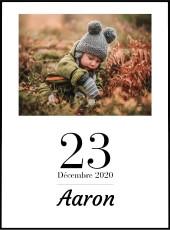 Affiche famille à personnaliser avec la photo, la date et le prénom.