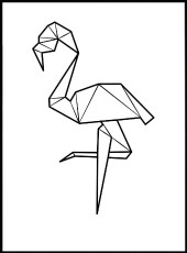 affiche flamant rose origami
