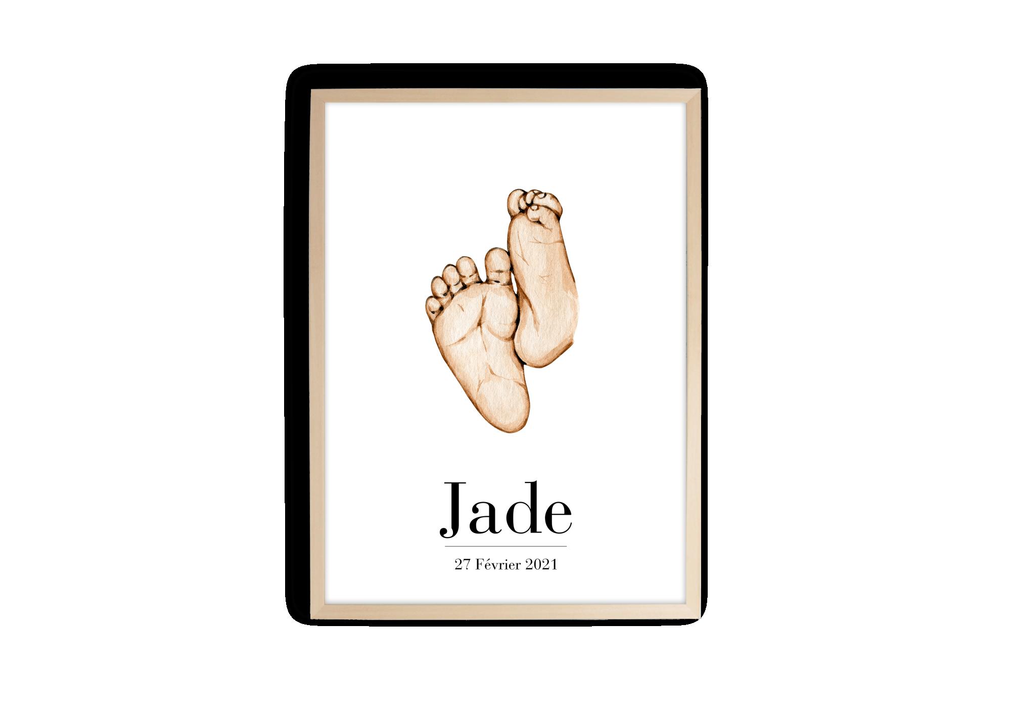 Affiche souvenir de naissance avec personnalisation de la date et du prénom.