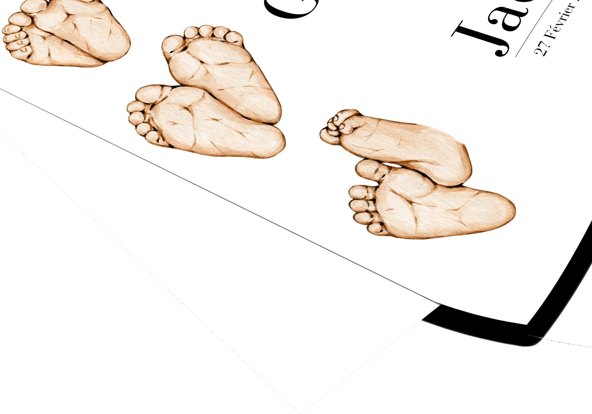 Poster représentant la naissance de 3 enfants. Personnalisez-la  avec le prénom des enfants ainsi que leur date de naissance pour un super souvenir.