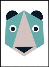 affiche bébé ourson en origami et en couleur
