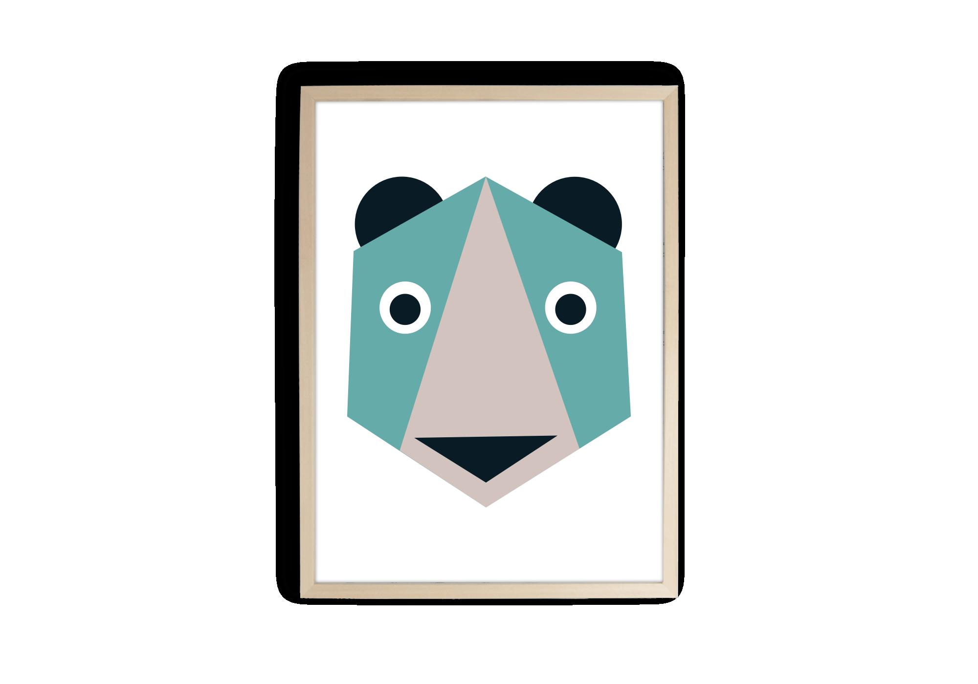tableau bébé ourson en origami et en couleur