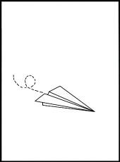 affiche avion en papier qui vole