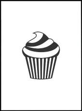 Affiche cupcake dessiné disponible en A3, A4 et A5