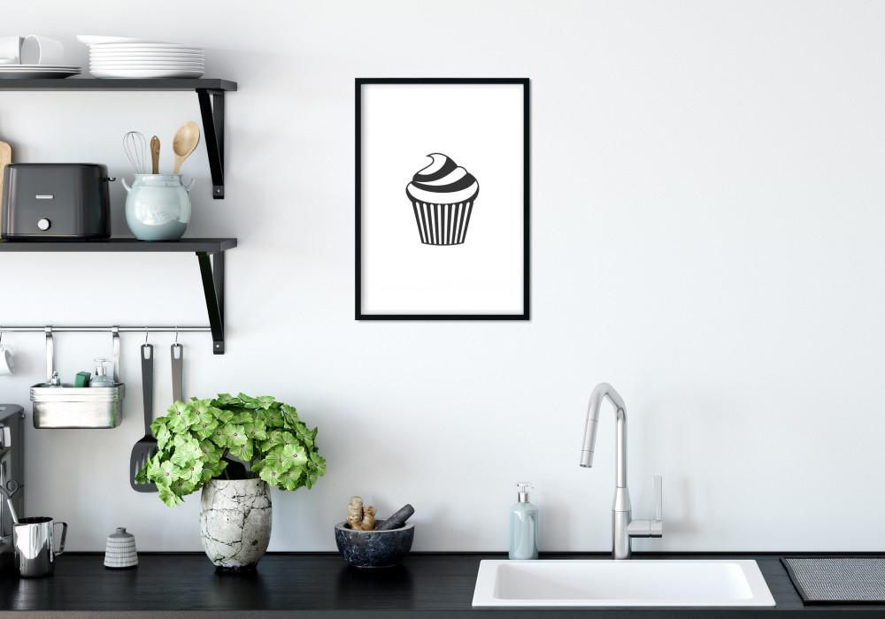 Poster cupcake en dessin