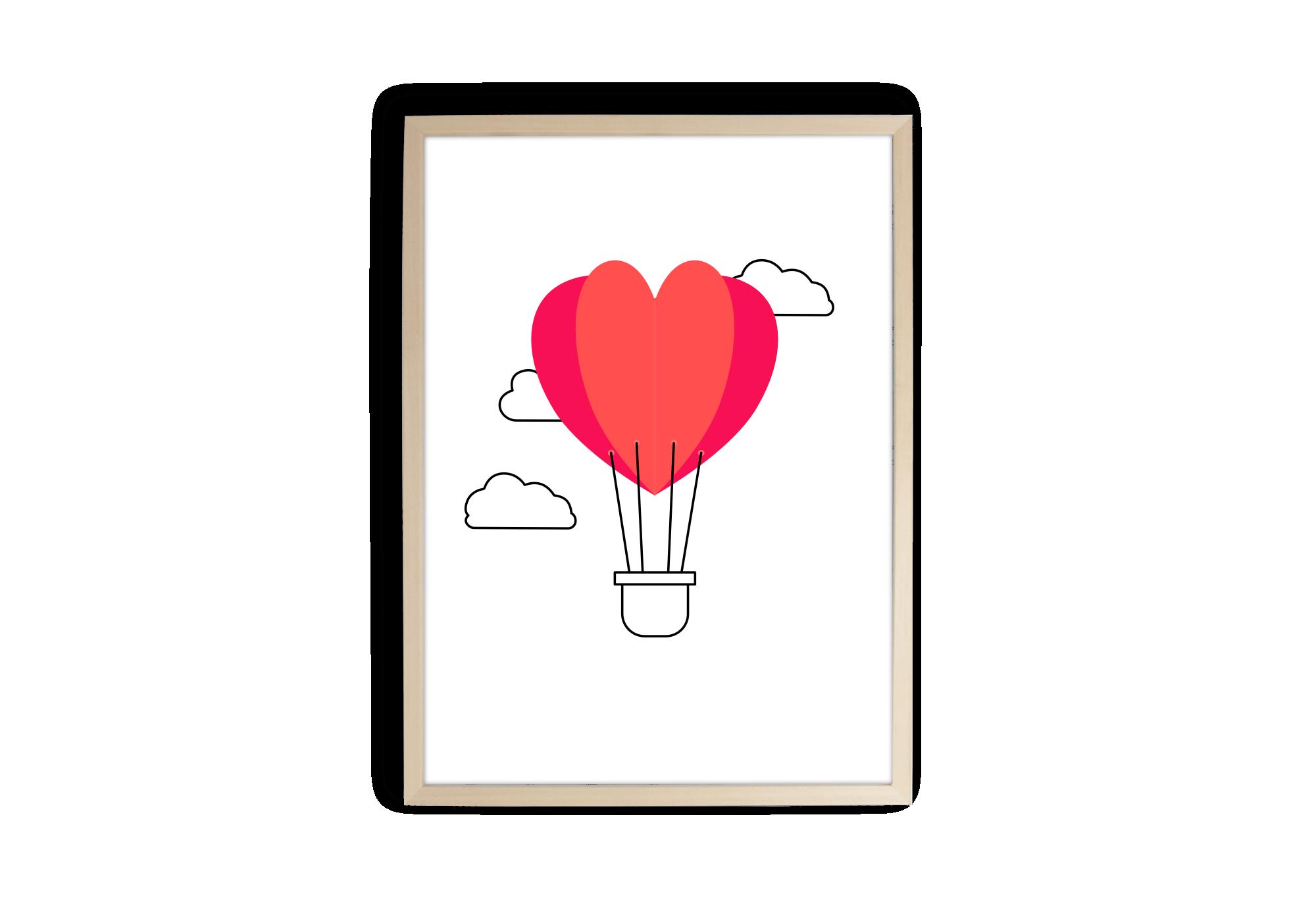 affiche montgolfière rouge en forme de coeur