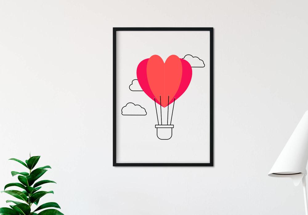 poster montgolfière cœur rouge
