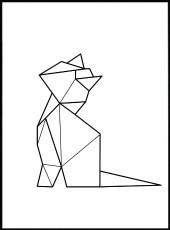 tableau chat assis en origami