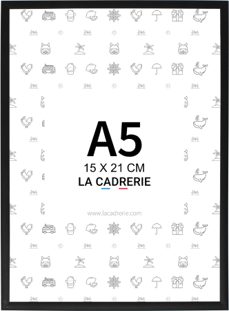 Cadre noir mat A5 soit 14,8x21 cm