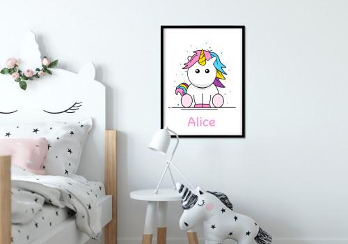 poster bébé licorne prénom personnalisable