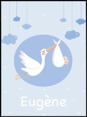 affiche cigogne personnalisable avec le prénom de l'enfant