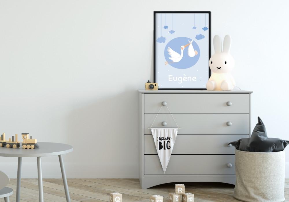poster personnalisable cigogne pour bébé
