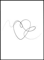 affiche en line art d'un cœur abstrait