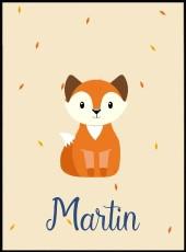 Affiche bébé renard personnalisable
