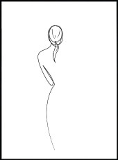 Affiche silhouette de femme nue de dos en dessin au trait