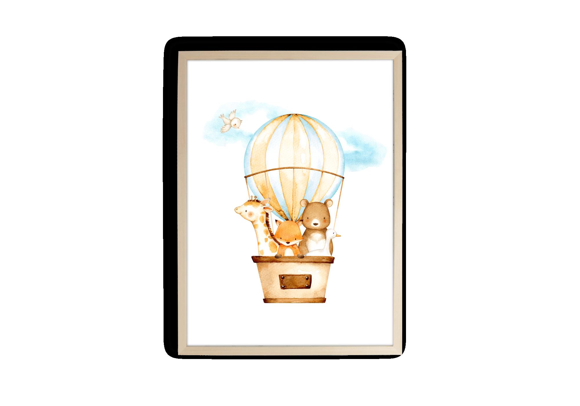 Affiche animaux en montgolfière en aquarelle