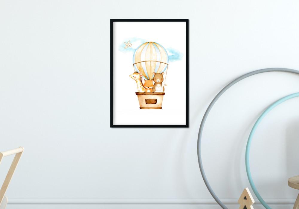 Poster aquarelle animaux dans une montgolfière