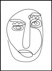 affiche line art de visage abstrait