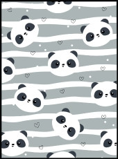 Affiche panda bleue et blanche